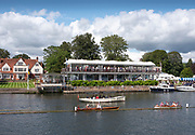 Henley-On-Thames, Berkshire, UK., Sunday, 15.08.21,   General View, Phyliss Court Club, Hospitality and Grandstand opposite the Stewards Enclosure, 2021 Henley Royal Regatta, Henley Reach, River Thames, Thames Valley,  [Mandatory Credit © Peter Spurrier/Intersport Images], Finals' Day,