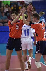 23-09-2000 AUS: Olympic Games Volleybal Nederland - Egypte, Sydney<br /> Nederland wint met 3-1 van Egypte / Guido Gortzen, Richard Schuil
