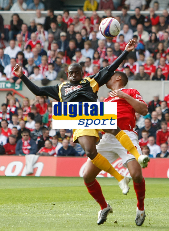 Photo: Steve Bond/Richard Lane Photography. <br />Nottingham Forest v Yeovil Town. Coca-Cola Football League One. 03/05/2008. Marvin Weilliams (front) in front of Julian Bennett (back)