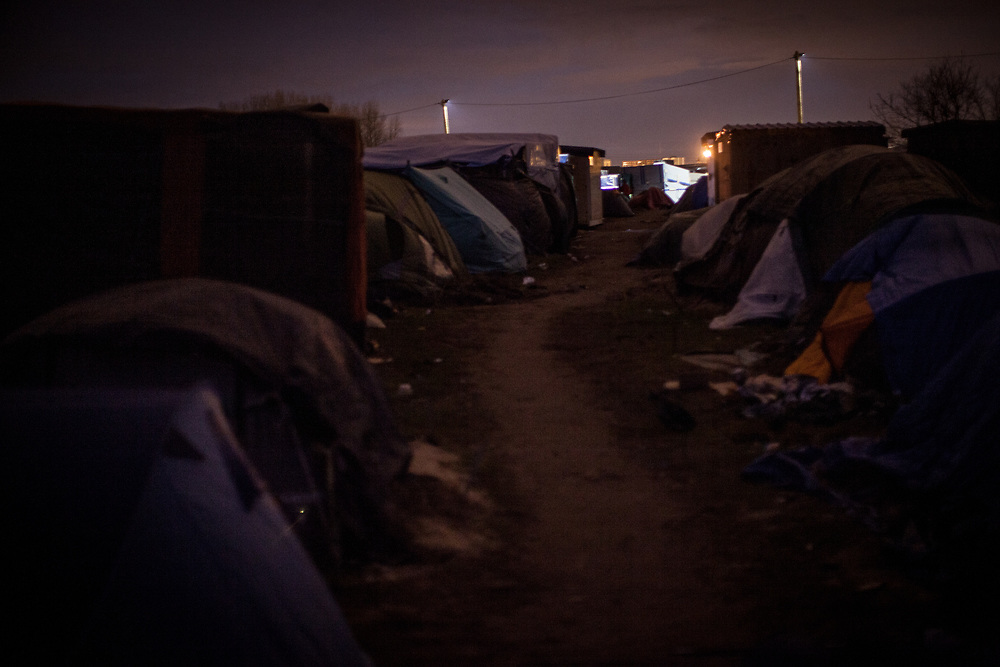 One of many small paths surrounded by tents. Between six and seven thousand people are currently in the camp.