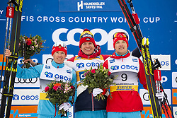 March 9, 2019 - Oslo, NORWAY - 190309 Maxim Vylegzjanin, Aleksandr Bolsjunov and Andrej Larkov of Russia celebrate after the in men's 50 km classic technique during the FIS Cross-Country World Cup on March 9, 2019 in Oslo..Photo: Fredrik Varfjell / BILDBYRÃ…N / kod FV / 150211. (Credit Image: © Fredrik Varfjell/Bildbyran via ZUMA Press)