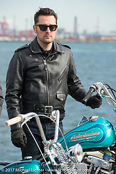 Dice Magazine's Dean Micetich with Matt Davis' 1968 custom Shovelhead at the docks where it was picked up with all of the invited builder's bikes for the Mooneyes show. Yokohama, Japan. Saturday December 2, 2017. Photography ©2017 Michael Lichter.