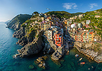 Aerial view of bird flying over Vernazza, Italy