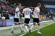 Stefan Johansen (l) of Fulham celebrates after he scores his teams 1st goal. EFL Skybet championship match, Cardiff city v Fulham at the Cardiff city stadium in Cardiff, South Wales on Saturday 25th February 2017.<br /> pic by Andrew Orchard, Andrew Orchard sports photography.