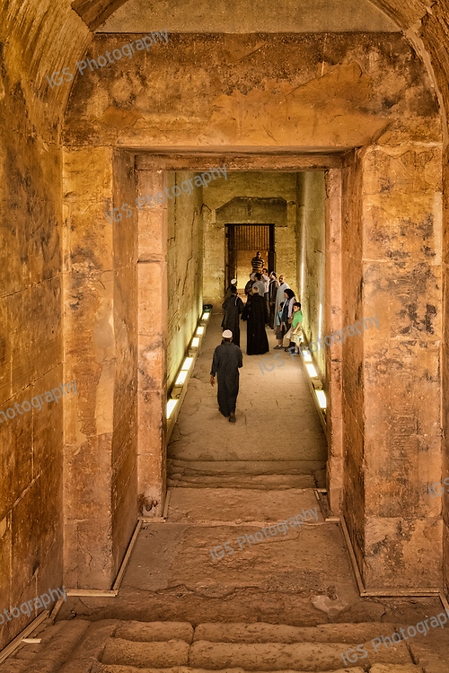 Steps at the end of the hallway leading to the ruins of The Osireion, located behind the temple of Seti in Abydos