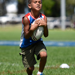 BRISBANE, AUSTRALIA - MARCH 18: A junior catches the ball during the NRL Development Junior Clinic and QRL training session at Ron Stark Oval on March 18, 2017 in Brisbane, Australia. (Photo by Patrick Kearney/Wynnum Manly Seagulls)