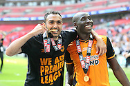 Ahmed Elmohamady of Hull City poses with a winners medal with Mohamed Diame of Hull City (r) . Skybet football league Championship play off final match, Hull city v Sheffield Wednesday at Wembley Stadium in London on Saturday 28th May 2016.<br /> pic by John Patrick Fletcher, Andrew Orchard sports photography.