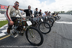 Moonshiner Josh Owens and Buckcherry drummer Xavier Muriel on their Harley-Davidson racers at Billy Lane's Sons of Speed vintage motorcycle racing during Biketoberfest. Daytona Beach, FL, USA. Saturday October 21, 2017. Photography ©2017 Michael Lichter.