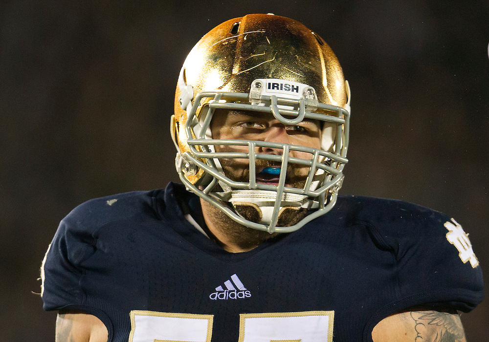 September 22, 2012:  Notre Dame offensive guard Mike Golic Jr. (57) during NCAA Football game action between the Notre Dame Fighting Irish and the Michigan Wolverines at Notre Dame Stadium in South Bend, Indiana.  Notre Dame defeated Michigan 13-6.