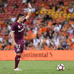 BRISBANE, AUSTRALIA - FEBRUARY 3: Dimitri Petratos of the Roar in action during the round 18 Hyundai A-League match between the Brisbane Roar and Sydney FC at Suncorp Stadium on February 3, 2017 in Brisbane, Australia. (Photo by Patrick Kearney/Brisbane Roar)