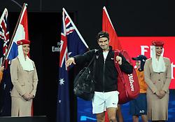 MELBOURNE, Jan. 28, 2018  Switzerland's Roger Federer (C) waves as he arrives on court to meet Croatia's Marin Cilic in the men's singles final at the Australian Open 2018 in Melbourne, Australia, Jan. 28, 2018. (Credit Image: © Li Peng/Xinhua via ZUMA Wire)