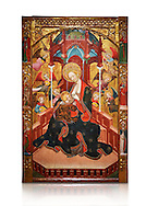 Gothic Altarpiece of the Madonna Nursing or Madonna Lactans, by Ramon de Mur, active around Tarrega and Montblanc circa 1412-1435, tempera and gold leaf on for wood, from the parish church of Santa Maria de Cervera (Segarra),  National Museum of Catalan Art, Barcelona, Spain, inv no: MNAC  15818. Against a white background. . .<br /> <br /> If you prefer you can also buy from our ALAMY PHOTO LIBRARY  Collection visit : https://www.alamy.com/portfolio/paul-williams-funkystock/gothic-art-antiquities.html  Type -     MANAC    - into the LOWER SEARCH WITHIN GALLERY box. Refine search by adding background colour, place, museum etc<br /> <br /> Visit our MEDIEVAL GOTHIC ART PHOTO COLLECTIONS for more   photos  to download or buy as prints https://funkystock.photoshelter.com/gallery-collection/Medieval-Gothic-Art-Antiquities-Historic-Sites-Pictures-Images-of/C0000gZ8POl_DCqE