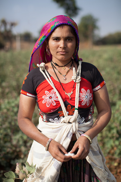 Mamtuben Papybhai Charda, Fairtrade-certified cotton farmer in Rapar district, Gujarat, India.<br /> <br /> Fairtrade Australia and New Zealand support cotton producer groups in India. Fairtrade-certified groups benefit from Fairtrade through guaranteed prices for their produce, technical assistance to improve quality and output, and the Fairtrade premium which the producer groups decide what to do with, often using it for education and health care for their members' communities.<br /> <br /> RDFC (formerly Agrocel) is a Fairtrade-certified group of thousands of farmers who grow cotton in the Rapar, Kutch region of Gujarat in western India