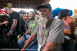 Rickey Lewis at the Cycle Source Grease & Gears demo at the Iron Horse Saloon during the annual Sturgis Black Hills Motorcycle Rally.  SD, USA.  August 8, 2016.  Photography ©2016 Michael Lichter.