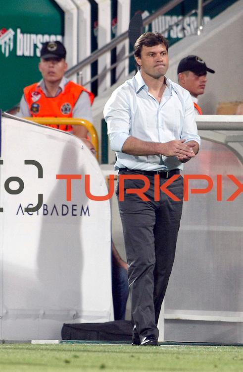 Bursaspor's coach Ertuğrul SAGLAM during their UEFA Europa League Third qualifying round, First leg soccer match Bursaspor between Gomel at the Ataturk stadium in Bursa Turkey on Thursday 28 July 2011. Photo by TURKPIX