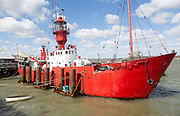 Red lightship light vessel LV18 Mi Amigo ship, pirate radio station, Harwich, Essex, England, UK Radio Caroline