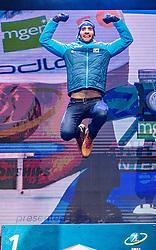 19.02.2020, Suedtirol Arena, Antholz, ITA, IBU Weltmeisterschaften Biathlon, Herren, 20 km Einzel, Siegerherung, im Bild Weltmeister und Goldmedaillengewinner Martin Fourcade (FRA) // World champion and gold medalist Martin Fourcade of France during the winner ceremony for the men's 20 km Individual of IBU Biathlon World Championships 2020 at the Suedtirol Arena in Antholz, Italy on 2020/02/19. EXPA Pictures © 2020, PhotoCredit: EXPA/ Stefan Adelsberger
