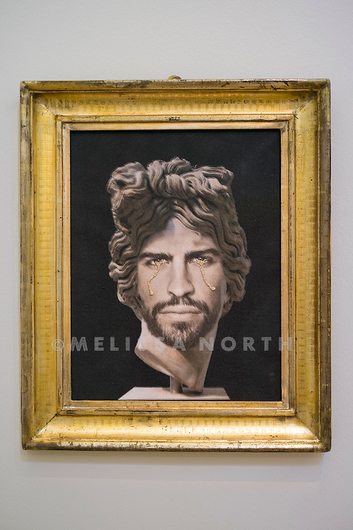 FRANCESCO VEZZOLI - <br /> PORTRAIT OF GERARD PIQUÉ AS APOLLO DEL BELVEDERE. From 'The Art of Football' highlights from celebrated artists due to be auctioned on 12th February 2015, donated in support of the 1 in 11 Campaign by FC Barcelona, Reach Out to Asia (ROTA) and UNICEF, at Sotheby's, London, UK on 6th February 2015.