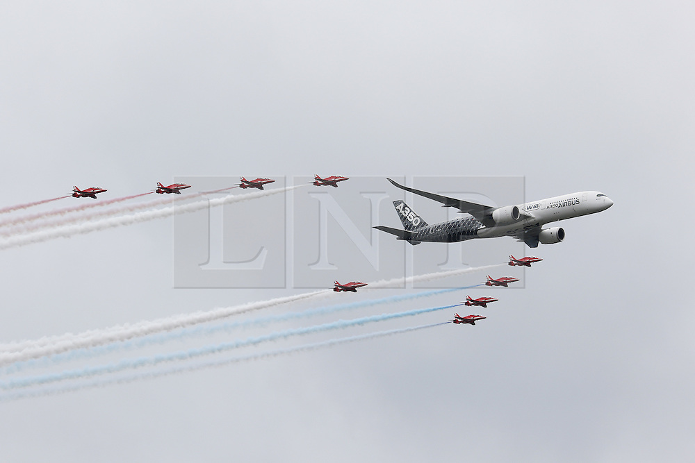RAF Red Arrows, Airbus A350, Farnborough International Airshow, London Farnborough Airport UK, 15 July 2016, Photo by Richard Goldschmidt