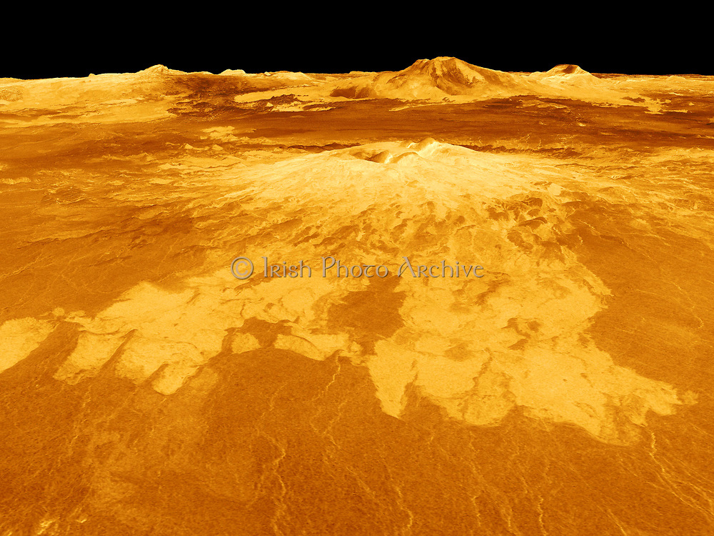 Computer-generated view of surface of the planet Venus dominated by the volcano Sapas Mons.  Lava flows extend for hundreds of kilometres across the fractured plains shown in the foreground. Credit NASA. Science Astronomy