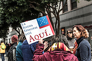 San Francisco, USA. 28th February, 2018. An estimated three hundred protesters gather outside San Francisco Immigrations & Customs Enforcement building (ICE) to protest recent arrests of at least 150 people in ICE operations conducted over the previous few days in Northern California. Shelly Rivoli/Alamy Live News