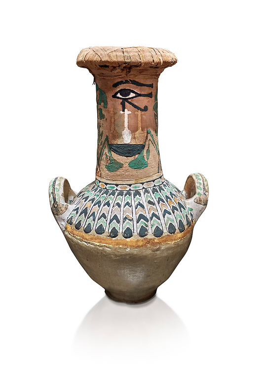 Ancient Egyptian  decorated jar sealed with linen , tomb of Kha, Theban Tomb 8 , mid-18th dynasty (1550 to 1292 BC), Turin Egyptian Museum. White background<br /> <br /> TT8 or Theban Tomb 8 was the tomb of Kha, the overseer of works from Deir el-Medina in the mid-18th dynasty[2] and his wife, Merit. TT8 was one of the greatest archaeological discoveries of ancient Egypt, one of few tombs of nobility to survive intact. .<br /> <br /> If you prefer to buy from our ALAMY PHOTO LIBRARY  Collection visit : https://www.alamy.com/portfolio/paul-williams-funkystock/ancient-egyptian-art-artefacts.html  . Type -   Turin   - into the LOWER SEARCH WITHIN GALLERY box. Refine search by adding background colour, subject etc<br /> <br /> Visit our ANCIENT WORLD PHOTO COLLECTIONS for more photos to download or buy as wall art prints https://funkystock.photoshelter.com/gallery-collection/Ancient-World-Art-Antiquities-Historic-Sites-Pictures-Images-of/C00006u26yqSkDOM