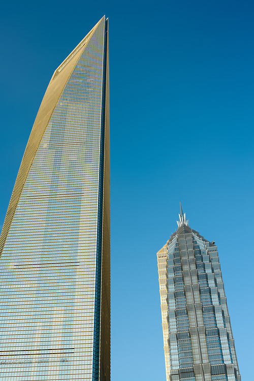 Pudong, Shanghai, China, Asia - November 18, 2008: View of the SWFC, Shanghai World Financial center at left and Jinmao Tower at right.