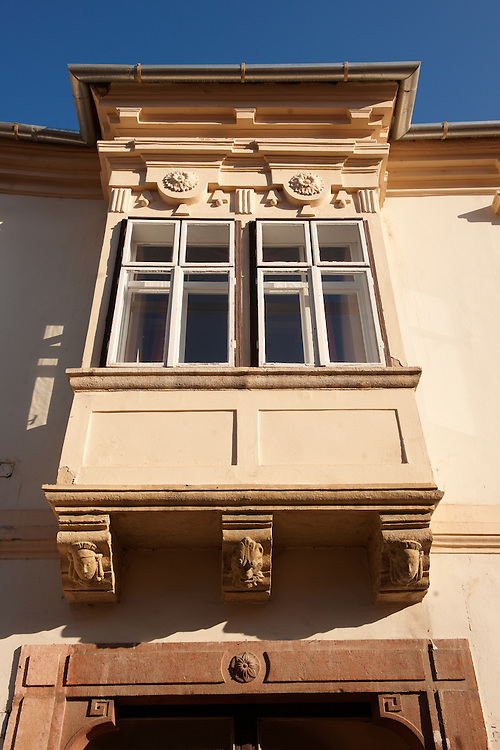 Copf style house Bay window - ( Gy?r )  Gyor Hungary .<br /> <br /> Visit our HUNGARY HISTORIC PLACES PHOTO COLLECTIONS for more photos to download or buy as wall art prints https://funkystock.photoshelter.com/gallery-collection/Pictures-Images-of-Hungary-Photos-of-Hungarian-Historic-Landmark-Sites/C0000Te8AnPgxjRg