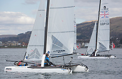 The annual RYA Youth National Championships is the UK's premier youth racing event. This year's regatta is taking place in Largs, Scotland, and will feature around 200 young sailors aged between 14 and 21. <br /> <br /> 004, Theo Williams & Jasmine Williams from Restronguet Sailing Club sailing in the Nacra 15 Open Class<br /> <br /> Images: Marc Turner / RYA<br /> <br /> For further information contact:<br /> <br /> Richard Aspland, <br /> RYA Racing Communications Officer (on site)<br /> E: richard.aspland@rya.org.uk<br /> m: 07469 854599
