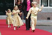 His highness prince Pieter-Christiaan of Oranje Nassau, of Vollenhoven and Ms drs. A.T. van Eijk get married  in the Great or St Jeroens Church in Noordwijk. <br /> <br /> <br /> Zijne Hoogheid Prins Pieter-Christiaan van Oranje-Nassau, van Vollenhoven en mevrouw drs. A.T. van Eijk treden in het (kerkelijk) huwelijk in de Grote St. Jeroenskerk in Noordwijk<br /> <br /> On the photo/Op de foto:<br /> <br /> <br /> <br /> Bruidskinderen zijn Anna, dochter van Prins Maurits & Prinses Marilène; Isabella, dochter van Prins Bernhard & Prinses Annette; en Eric, zoon van Caroline & Bert van der Toorn-van Eijk.<br /> <br /> bride children are Anna, for the of prince Maurits & princess Marilène; Isabella, for the of prince Bernhard & princess Annette; and Eric, zoon of Caroline & Bert of of the Toorn-van Eijk.<br /> <br /> Hare Koninklijke Hoogheid Prinses Margriet der Nederlanden en  Zijne Hoogheid Prins Pieter-Christiaan van Oranje Nassau<br /> <br /> Her royal highness princess Margriet of the The Netherlands and his highness prince Pieter-Christiaan of oranje nassau<br /> <br /> Hare Koninklijke Hoogheid Prinses Margriet der Nederlanden