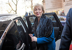 © Licensed to London News Pictures. 11/12/2018. London, UK. Leader of the House Of Commons ANDREA LEADSOM is seen in Westminster shortly after a television interview.  British Prime Minister Theresa May has been forced to call off a vote on the withdrawal agreement after is became apparent she was loose heavily. Photo credit: Ben Cawthra/LNP