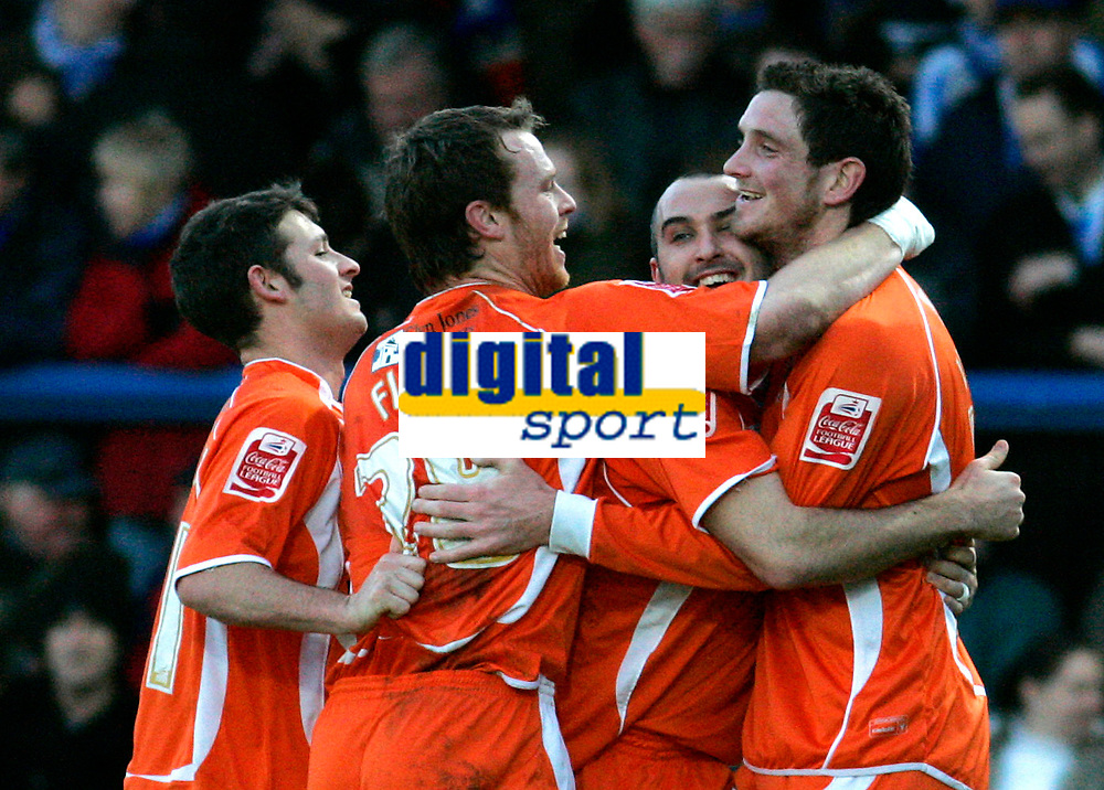 Photo: Tom Dulat/Sportsbeat Images.<br /> <br /> Colchester United v Blackpool. The FA Barclays Premiership. 29/12/2007. <br /> <br /> R to L: Blackpool's Scott Vernon celebrates his second goal together with Gary Taylor-Fletcher and Michael Flynn. Blackpool leads 2-0