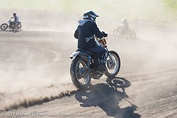 Warming up for Brat Style's flat track racing at West Point Offroad Village. Kawagoe, Saitama. Japan. Wednesday December 6, 2017. Photography ©2017 Michael Lichter.