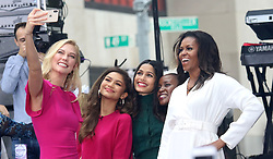 October 11, 2018 - New York City, New York, U.S. - Model KARLIE KLOSS, ZENDAYA, FREIDA PINTO, and  former first lady MICHELLE OBAMA attend NBC's 'Today' show celebrates 'The International Day of the Girl' held at Rockefeller Plaza. (Credit Image: © Nancy Kaszerman/ZUMA Wire)