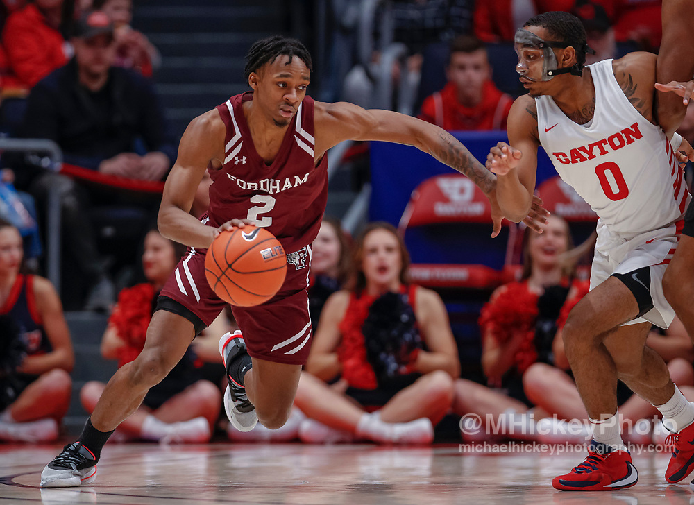 DAYTON, OH - FEBRUARY 01: Jalen Cobb #2 of the Fordham Rams dribbles the ball during the game against the Dayton Flyers at UD Arena on February 1, 2020 in Dayton, Ohio. (Photo by Michael Hickey/Getty Images) *** Local Caption *** Jalen Cobb