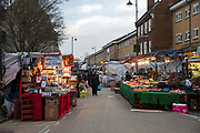 East Street Market on 11th January 2017 in South London, United Kingdom. Known locally as The Lane or East Lane, East Street Market is a busy market in Walworth, South London.
