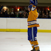 Tommy Zizian celebrates after scoring for Southern Stampede during the Southern Stampede V Dunedin Thunder National Ice Hockey League match at the Queenstown Ice Arena , South Island, New Zealand, 25th June 2011