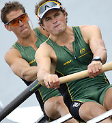 Poznan, POLAND, AUS M2-, Bow, Terrence ALFRED and Karsten FORSTERLING, move away from the start in their morning heat, at the 2008 FISA World Cup. Rowing Regatta. Malta Rowing Course on Friday, 20/06/2008. [Mandatory Credit:  Peter SPURRIER / Intersport Images] Rowing Course:Malta Rowing Course, Poznan, POLAND
