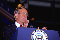 United States Vice President George H.W. Bush makes remarks at a fund-raising luncheon prior to delivering his speech accepting the Republican Party nomination for President of the United States at the Republican National Convention in New Orleans, Louisiana on August 18, 1988. Credit: Howard L. Sachs / CNP /ABACAPRESS.COM