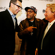 """John Turturro, left, Spike Lee, center, and John Savage at the 20th Anniversary of Spike Lee's """"Do The Right Thing"""" sponsored by ImageNation."""