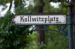 Detail of ornate street sign at Kollwitzplatz in Prenzlauer Berg Berlin 2008