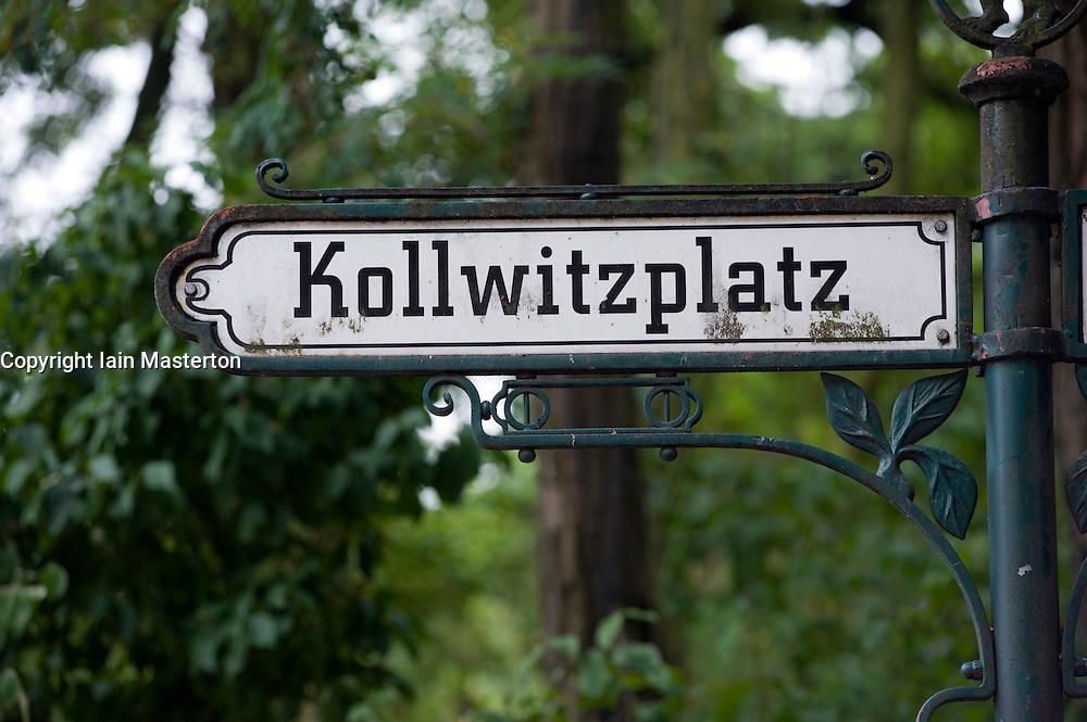 Detail of ornate street sign at Kollwitzplatz in Prenzlauer Berg Berlin 2008