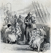 Families on deck of ship bound for Australia. Cngraving 1852.