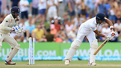 November 9, 2018 - Galle, Sri Lanka - Sri Lankan cricket captain Dinesh Chandimal is bowled out as England wicket keeper Ben Foakes (L) looks on  during the 4th day's play of the first test cricket match between Sri Lanka and England at Galle International cricket stadium, Galle, Sri Lanka on 9 November 2018. (Credit Image: © Tharaka Basnayaka/NurPhoto via ZUMA Press)