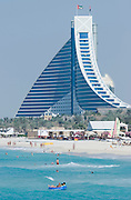 Jumeirah Beach Hotel, with its characteristic wave shape.
