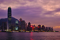 Chine, Hong Kong, Victoria Harbour, Central vu depuis Kowloon // China, Hong Kong, Victoria Harbour, Central from Kowloon