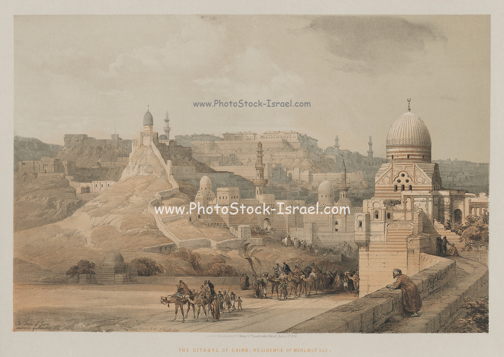 The Citadel of Cairo, Residence of Mehemet Ali 1849 Color lithograph by David Roberts (1796-1864). An engraving reprint by Louis Haghe was published in a the book 'The Holy Land, Syria, Idumea, Arabia, Egypt and Nubia. in 1855 by D. Appleton & Co., 346 & 348 Broadway in New York.