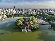 Aerial view of Ngoc Son Temple and Huc Bridge in Hoan Kiem Lake, Hanoi, Vietnam, Southeast Asia
