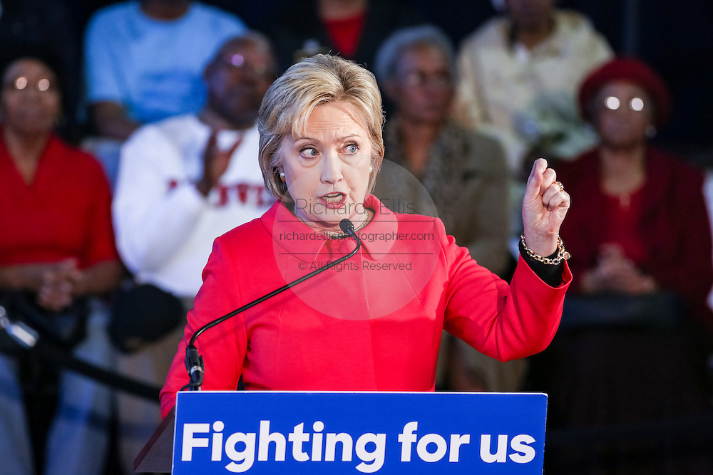 """Democratic presidential candidate Hillary Rodham Clinton during a """"Corridor of Opportunity"""" Town Hall meeting at Denmark-Olar Elementary School February 12, 2016 in Denmark, South Carolina, USA. The event highlighted the disparities facing poor black families and rural poor in South Carolina."""