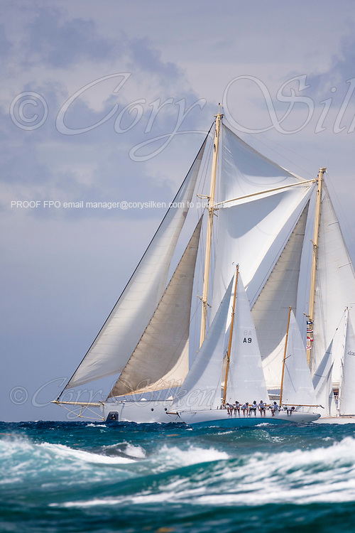 Vagabundo II and Chronos sailing in the Antigua Classic Yacht Regatta, Windward Race.